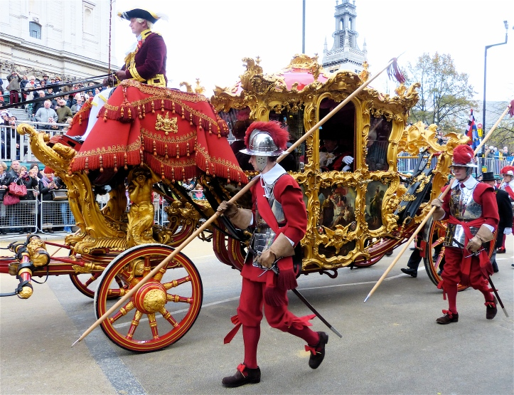 The Lord Mayor's 1757 State Coach. Allegedly it is 'the oldest ceremonial vehicle in regular use in the world'. The accompanying pikemen are drawn from the reserve infantry regiment known as The Honourable Artillery Company. The HAC was incorporated in 1537 by King Henry VIII and is the second oldest military organisation in the world. Only the Pope's Swiss Guard is older.