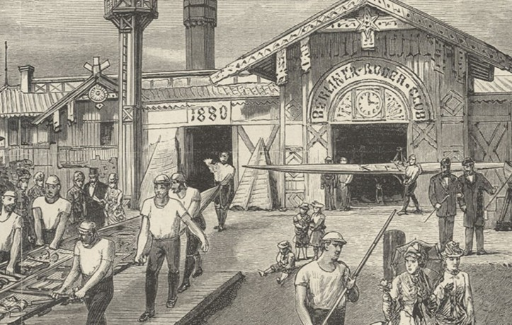 A detail from print depicting Berliner Ruder-Club in 1885
