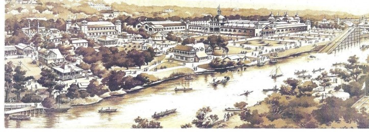 Illustration of the central grounds of the Cork International Exhibition, 1902