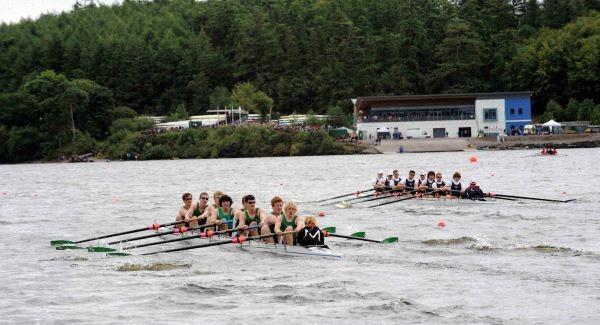 Crews racing towards the finish line