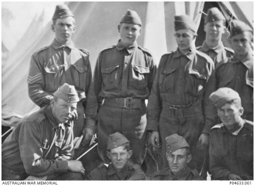 Nine members of the 10th Battalion. All except two of these men were students at St Peters Anglican College in Adelaide, and five of them died during the First World War. Pte Thomas Anderson Whyte is in the front row on the left.