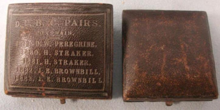 Boxes - for the rudder (L) 7.6 cm x 6.3 cm x 4.5 cm and for medal (R).