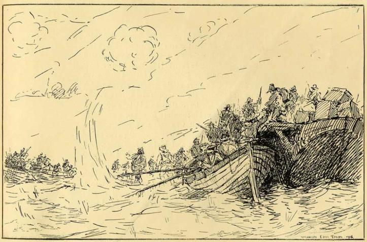 Drawing by Signaller Ellis Silas – The Landing.