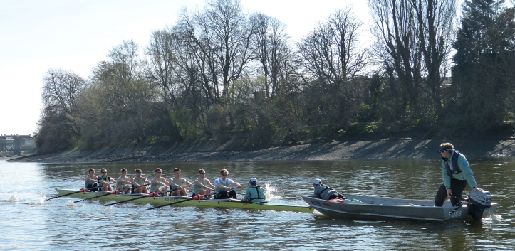 CUBC practices starts from coach Trapmore's launch.