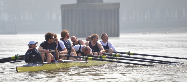 Oxford won the Veterans' Race by a greater margin than this picture suggests. A full report will follow.