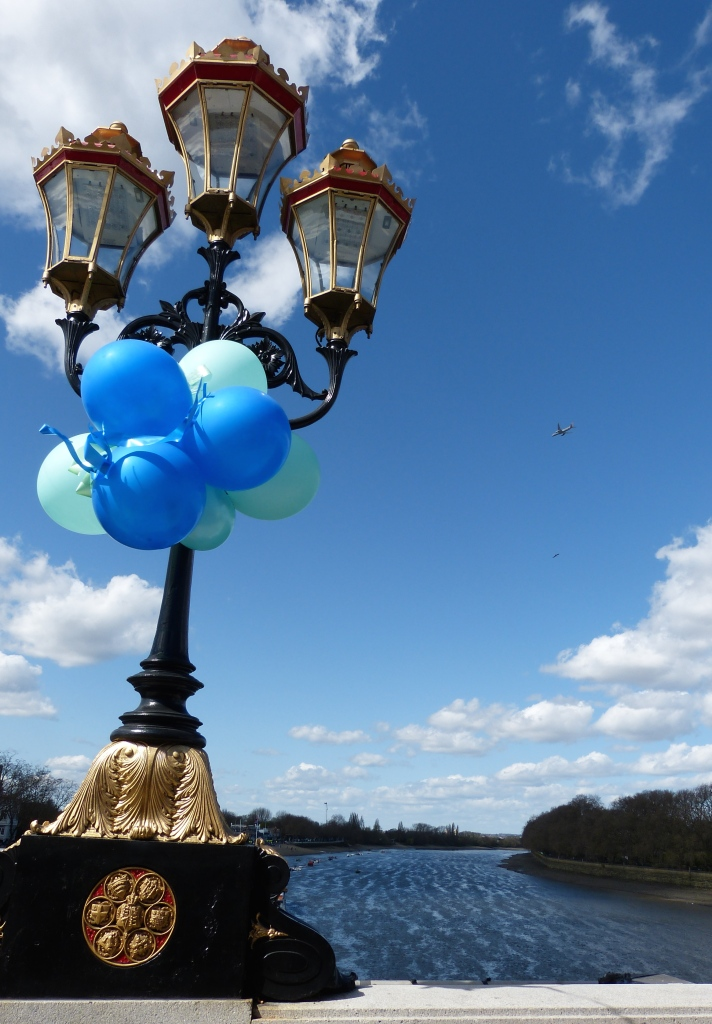 Fifty shades of blue: A view of the Oxford - Cambridge Boat Race start from Putney Bridge.