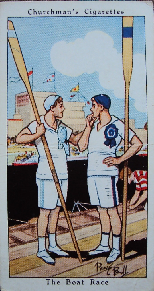Yesterday's post was headed by a couple of hearty Victorian oarsmen engaged in a manly handshake. This is a slightly more camp view of some Boat Race participants from a card given away with Churchman's Cigarettes in the 1950s.