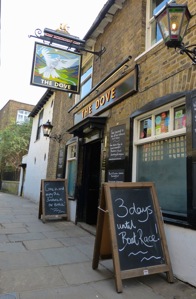 The splendid 'Dove' pub on the Hammersmith riverside has started its own countdown to Saturday's races. It was formerly a well-used marker on the Boat Race course. Other things between Putney and Mortlake may come and go but pubs (and churches) tend to stay.