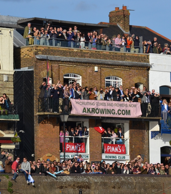 Auriol Kensington Rowing Club at Hammersmith viewed as the men's race passed.