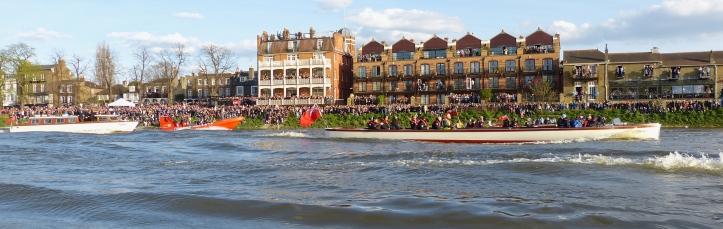 The men's race flotilla at the White Hart pub, upstream of Barnes Bridge.