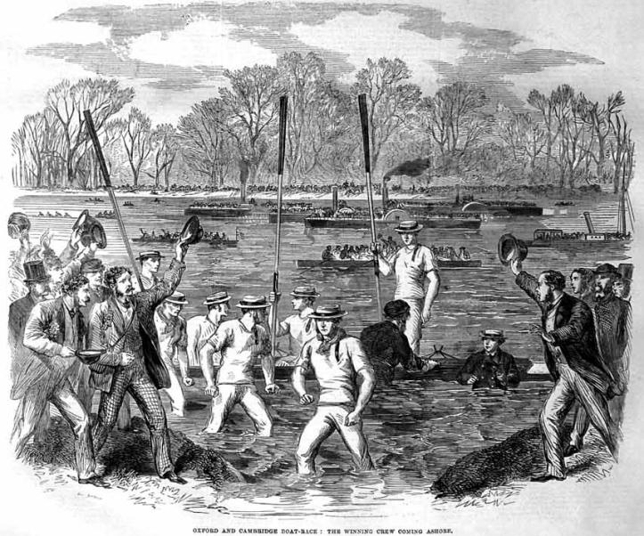 The winning crew goes ashore, 1863.