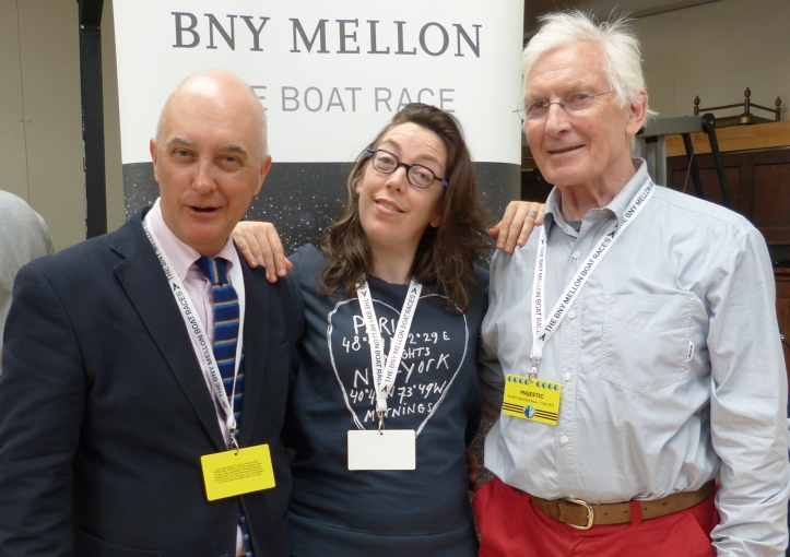 Hold the back page! The Hear The Boat Sing reporting team - Tim Koch, Hélène Rémond and Chris Dodd.