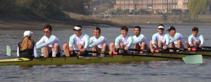 The Cambridge crew from bow: Tom Middleton, Paul Wright, David Dix, Steffen Buschbacher, Stephen Fowler, Matthew Parish, Sebastian Schulte, Bernd Heidicker, Sarah Smart.