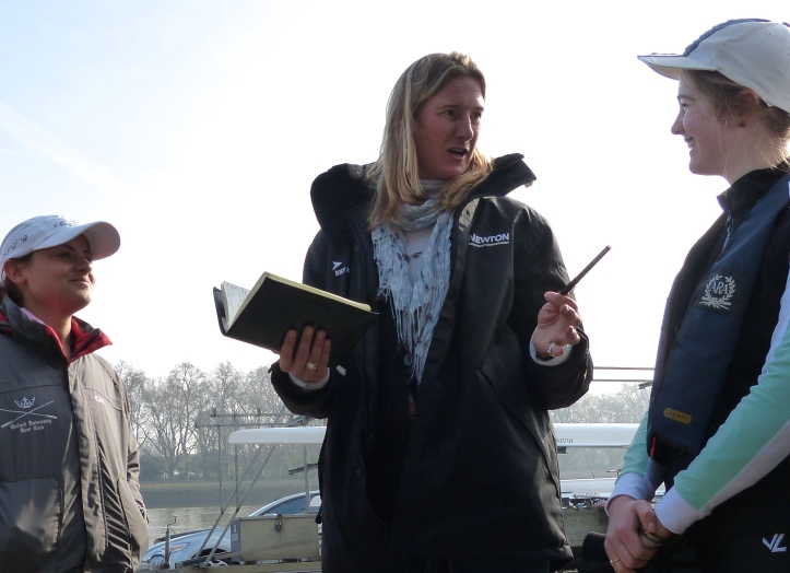 In the pre-race briefing, umpire Sarah Winckless (centre) instructs coxes Zoe de Toledo (left) and Sarah Smart (right).