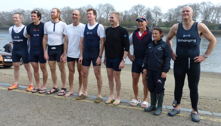 Oxford, the winning crew, left to right: Hugh Pelham, Barney Williams, Toby Ayer, Dan Johnson, Jonny Searle, Richard Shirley, Nick Holland, Zoe de Toledo, Chris Heathcote.