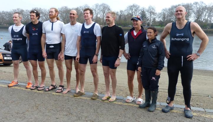 Oxford, the winning crew, left to right: Hugh Pelham, Barney Williams, Toby Ayer, Dan Johnson, Jonny Searle, Richard Shirley, Nick Holland, Zoe de Toledo, Chris Heathcote.