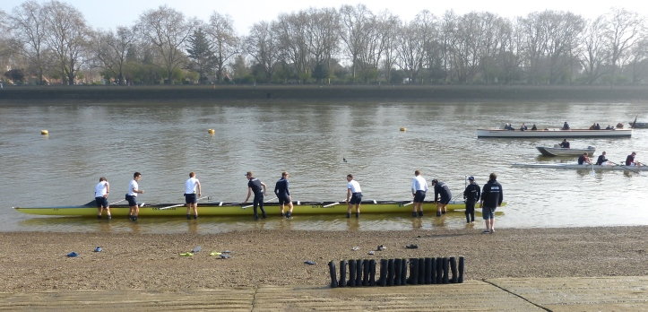 The Oxford Blue Boat goes afloat.