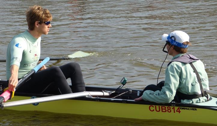 The Cambridge men's Blue Boat: stroke Henry Hoffstot and cox Ian Middleton, both veterans of the 2014 Race.