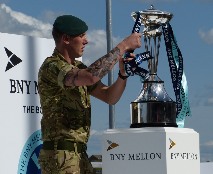 Royal Marines provide security on the water during racing but are also responsible for a little ceremony when they deliver the trophies by Inflatable Raiding Craft.
