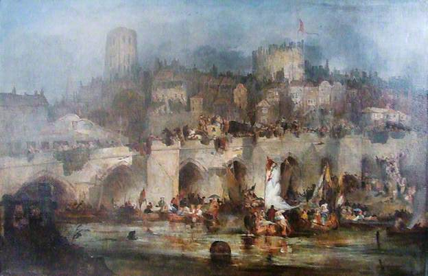 Procession of Boats on the Wear at Durham to Celebrate the Battle of Waterloo, 1815. Painting by Edward Hastings and in the collection of Durham University.