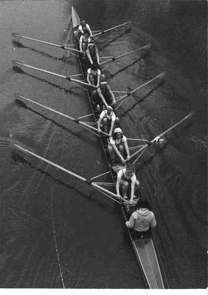 13-1976 crew rowing under the Green Dragon footbridge