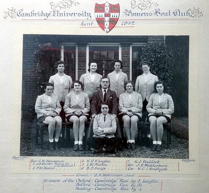 1942 crew photo (courtesy of Newnham College).