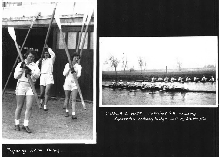 1956 rowers and crew racing against the coxes.