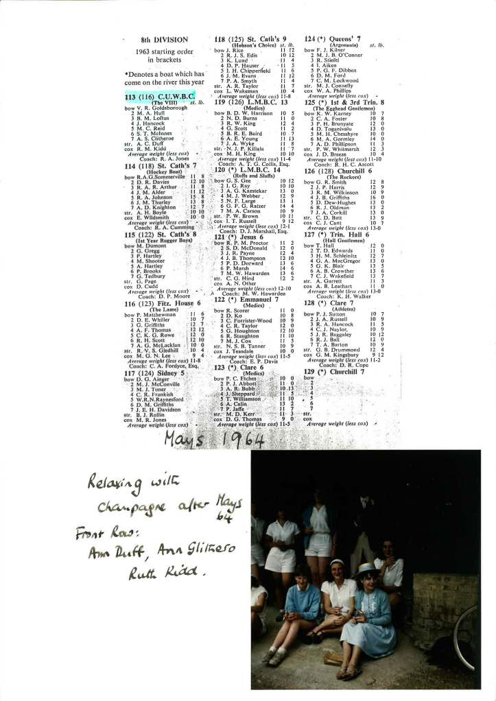 1964 crew list and photo of post-Mays drinks.