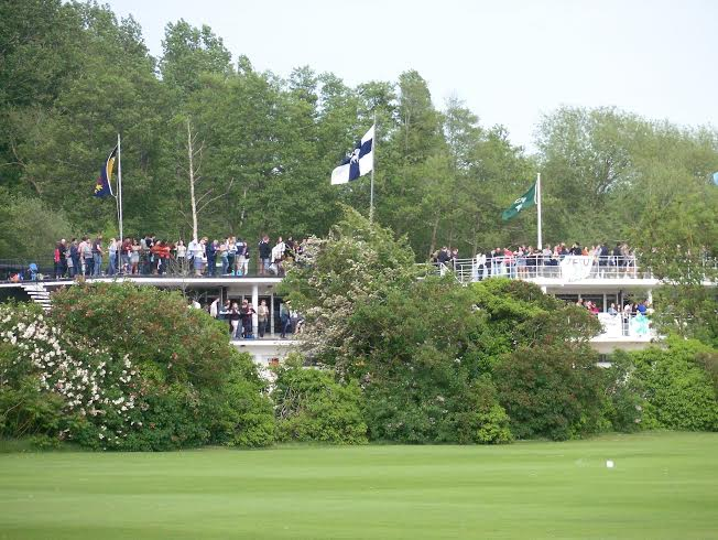 "Crowd at the Bumps 'Summer Eights"" awaits Brasenose v Jesus 200 annivary race."