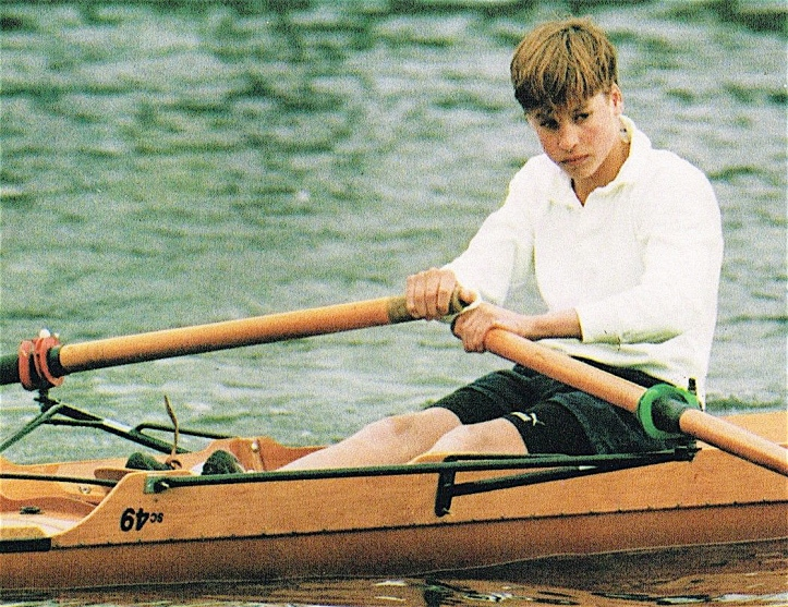 Prince William at Eton c.1992. Perhaps this picture captures the moment when he decided to be (in Eton speak) a 'dry' and not a 'wet' bob i.e. to make cricket and not rowing his summer game.
