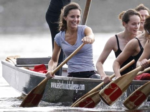The then Kate Middleton showing a little more enthusiasm for sitting in a boat than her future husband pictured above. Paddling, of course, is not rowing.