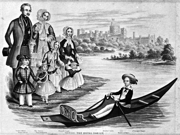 Queen Victoria and family, 1850. The nine year old Prince of Wales, the future Edward VII, is in the skiff adorned with the Prince of Wales's feathers. How often he used it is open to speculation.
