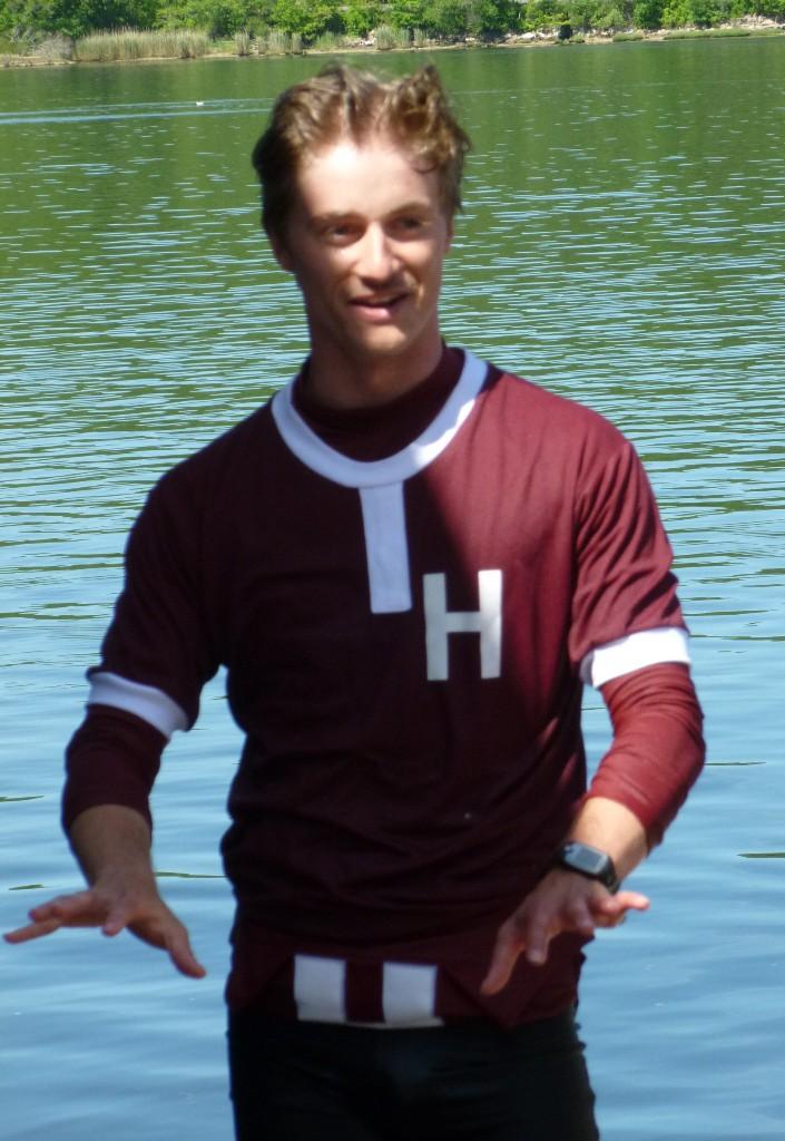 A winning, wet Jack Smith, Harvard Freshman cox.