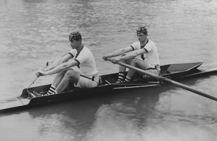 Hunting Howell (bow) in a pair with Adam Bell in 1898. Bell, who had rowed at Eton, was a remarkable oarsman. He won every open event on the River Cam.