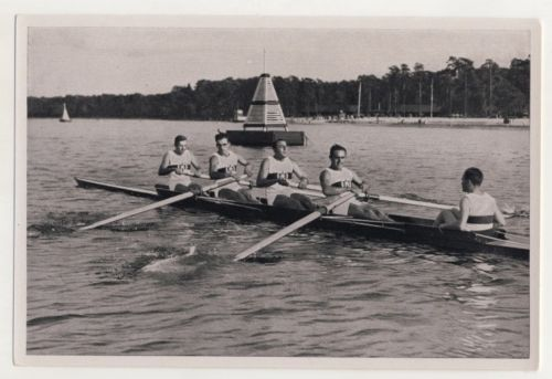 On the Water: (L to R) Hans Maier, Walter Volle, Ernst Gaber, Paul Söllner and Fritz Bauer (cox).
