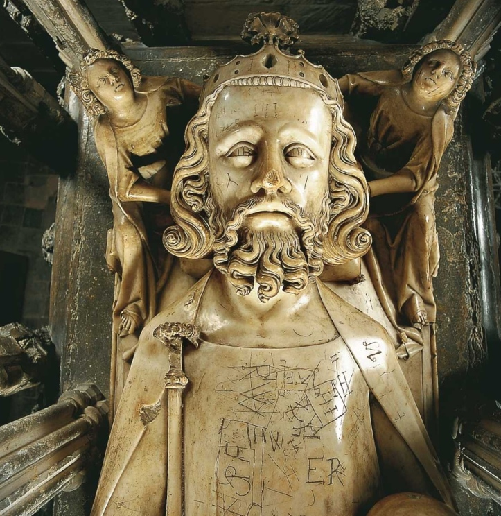 Edward II's tomb effigy at Gloucester Cathedral. The graffiti was etched by eighteenth-century choirboys.