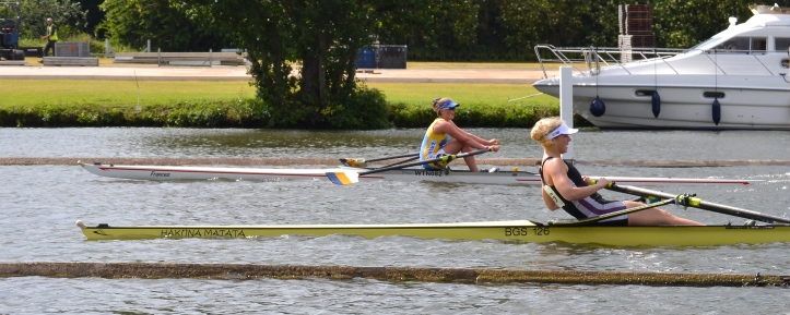 Pic 13.  Perhaps the penultimate stroke of J.1x where Glover of Warrington beat Armstrong of Bedford Girls School by one foot in a time of 6:26. Logic and this picture suggests that Glover probably won on the surge of her last stroke.