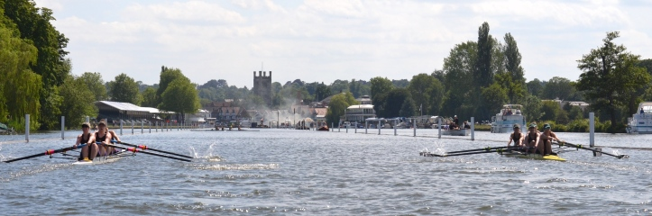 Pic 15. In a heat of the club coxed fours, Auriol Kensington led all the way but, in a remarkable recovery in the last few hundred metres, York closed the gap to lose by two feet.