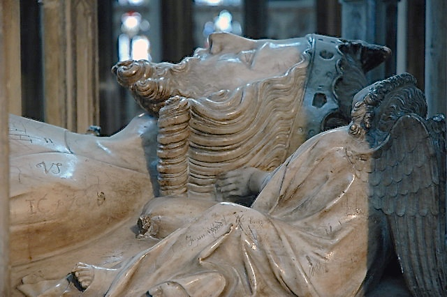 Another view of Edward II's tomb effigy.