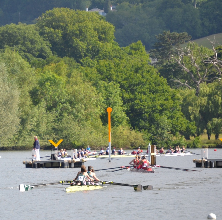 Pic 3. Time trials – the club coxed fours get ready.