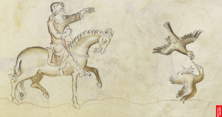 Hawking, one of the accepted 'sport of kings'. Detail from the Queen Mary Psalter, England, circa 1310-1320. Picture: The British Library Board.