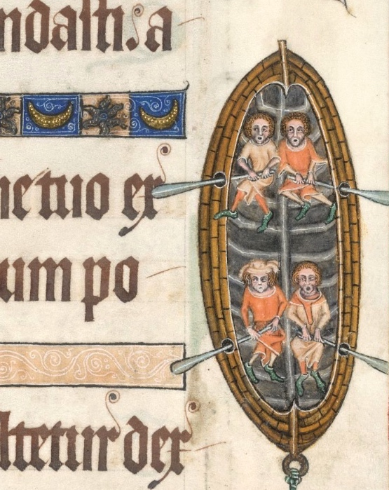 Detail from a marginal decoration for Psalm 88 in the Luttrell Psalter, England, circa 1325-1335, which clearly depicts a rowing boat. Picture: The British Library Board.