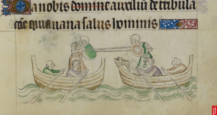 Water jousting, detail from the Queen Mary Psalter, England, circa 1310-1320. Picture: The British Library Board.