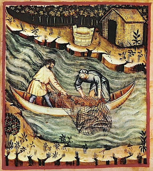 Fourteenth-century fishermen at work. No oars or paddles are illustrated but I would guess that these were paddled craft – as shown here.