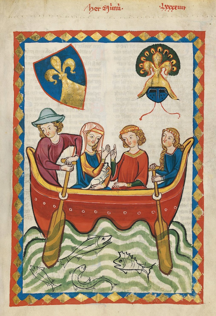 A picture from the Codex Manesse which was produced between 1310 and 1340. It is intriguingly titled 'Lord Niune rowing with his mistress' - is this the ultimate in 'rowing for pleasure'? They are using what at first look like paddles but they must be oars as they are in rowlocks of some kind, possibly made of rope. Also, is this the earliest representation a woman (or is it two women) rowing?