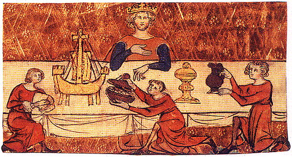 A picture of 'a king dining alone', from Walter Milemete's De Secretis Secretorum of 1326 or 1327.  Kathryn says that this is probably meant to represent Edward. The table piece in the shape of a boat may have been for alms for the poor, salt or wine.