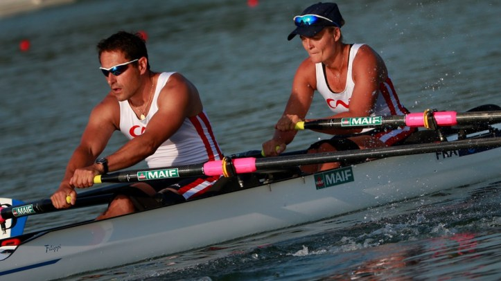 Stephane Tardieu (stroke) and Perle Bouge, France, in the mixed double in a heat at World Cup in Varese. Photo; www.worldrowing.com