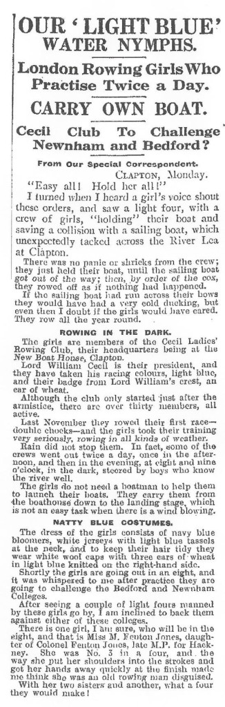1921 Daily Mirror - Water Nymphs Article