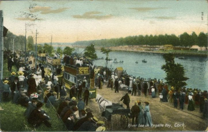 A postcard (posted 1906) featuring a regatta on the Marina, Cork.