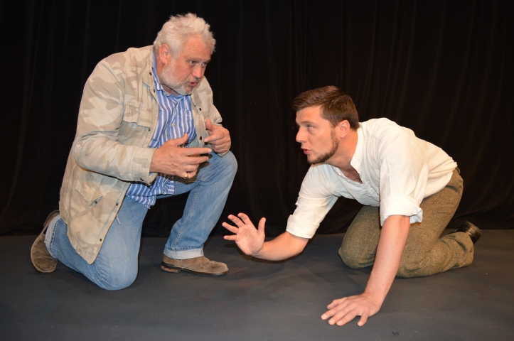 Jamie Brown, who is playing Harry Clasper, with director Russell Floyd in Ed Waugh's Hadaway Harry, a play about the famous professional oarsman and boatbuilder.